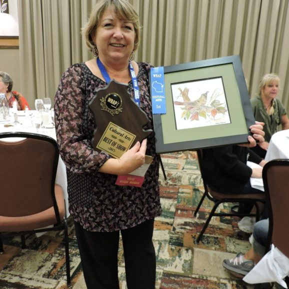 """Resident Mary Fryman from Good Samaritan-Lodi with project entitled """" Artwork"""" with WRAP Member Patty Morter"""