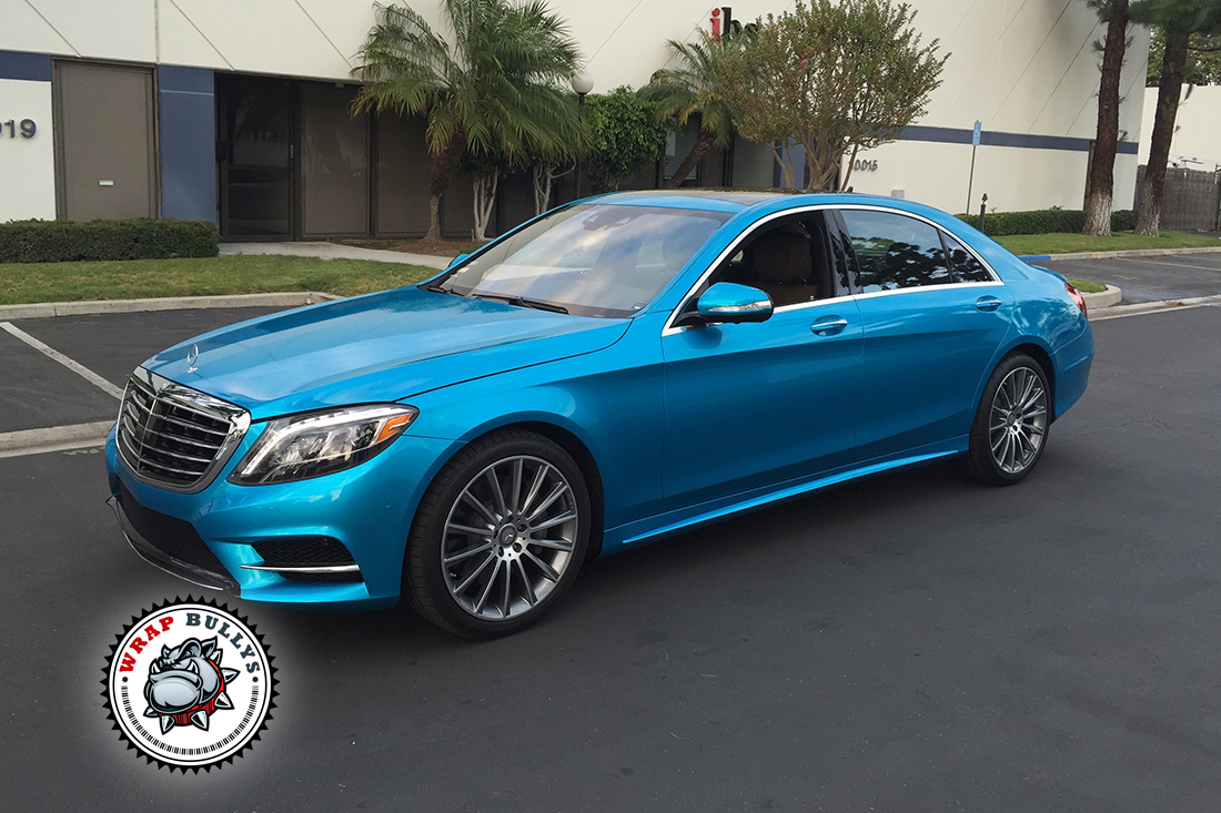 Mercedes benz s550 wrapped in 3m gloss atlantis blue car for Mercedes benz of orange county