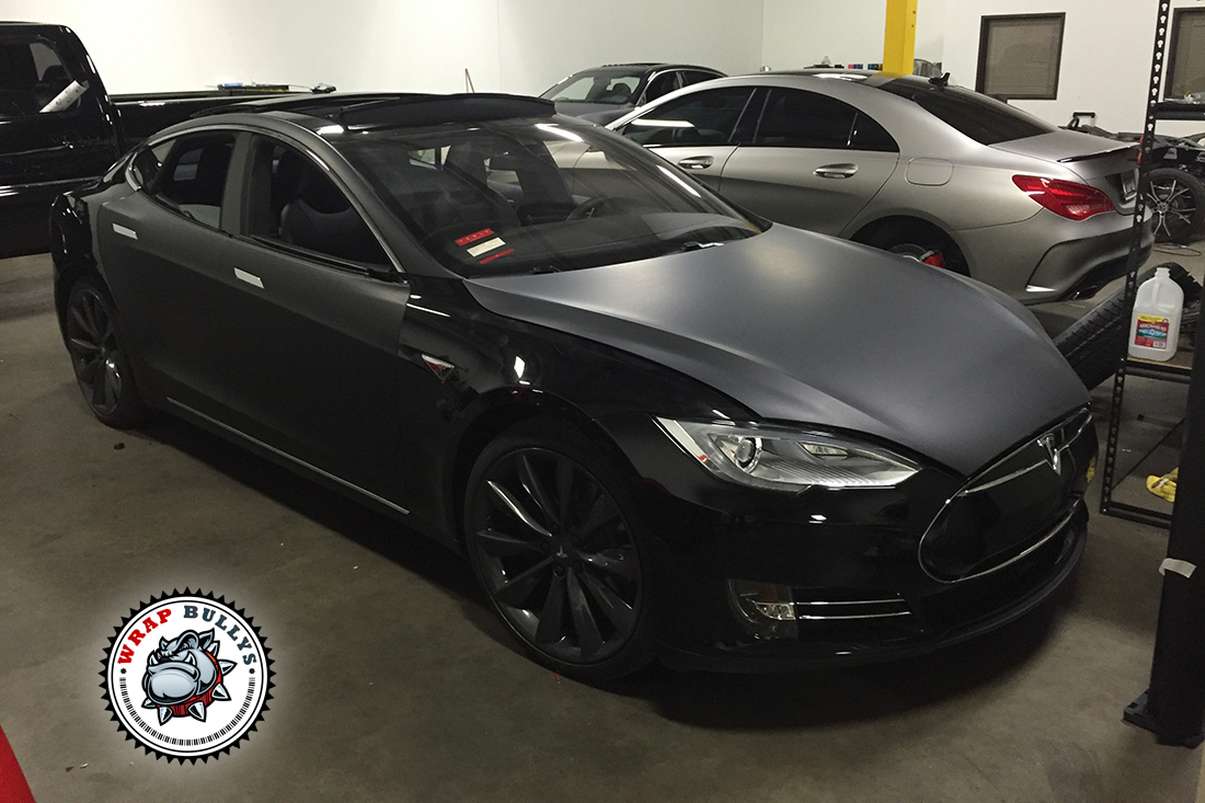 Tesla Model S Wrapped in Matte Black Wrap