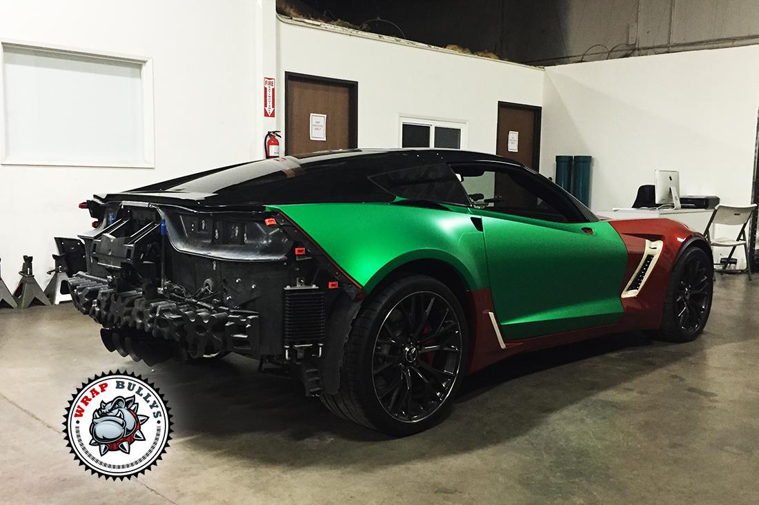 Corvette Z06 Wrapped In 3m Satin Green Wrap Bullys