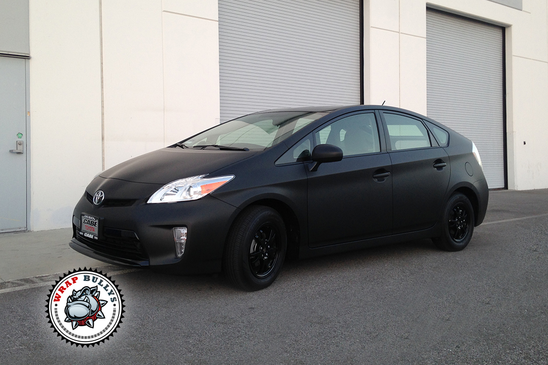 toyota prius wrapped in 3m matte black wrap bullys