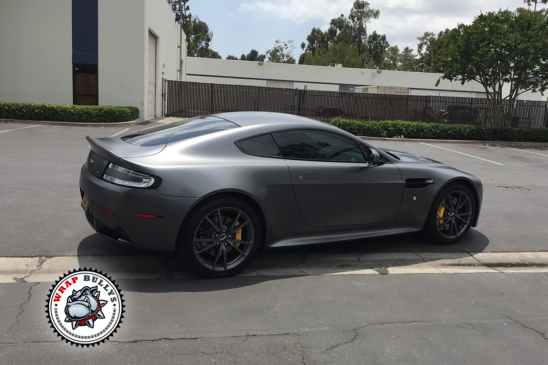 Aston Martin Vantage Wrapped in 3M Satin Dark Gray. Call today for pricing on your car wrap.