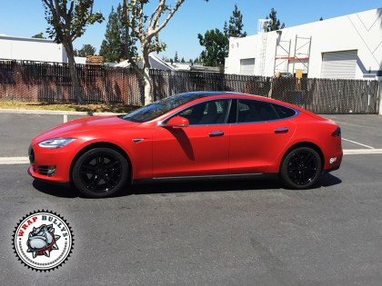 Tesla Model S Wrapped in 3M Satin Red