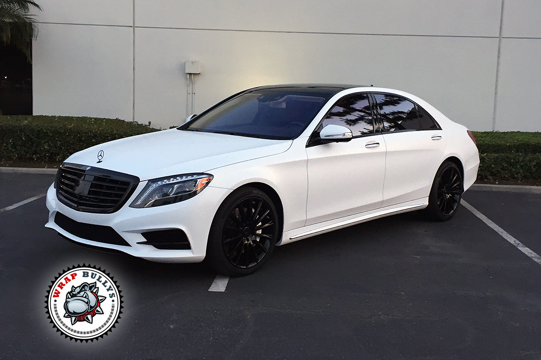 Mercedes s550 wrapped in satin white wrap bullys for Custom mercedes benz s550