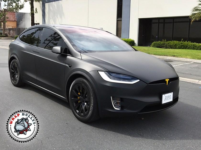 Tesla X Wrapped in 3M Deep Matte Black