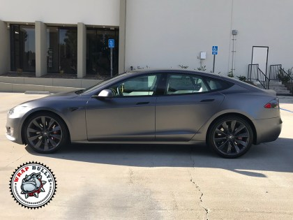 Satin Gray Tesla Car Wrap