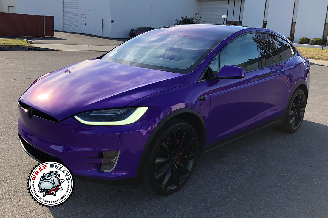Purple Tesla X Car Wrap