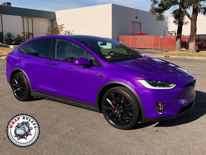 Tesla X Wrapped in 3M Gloss Plum Explosion