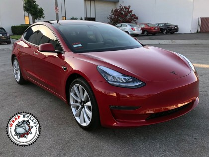 Tesla 3 Wrapped in Gloss Clear Bra Paint Protection