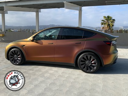 Tesla Model Y Wrapped in Avery Satin Rising