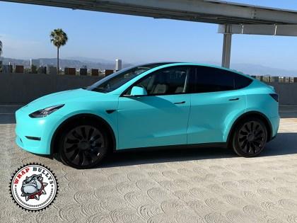 Tesla Y Wrapped in 3M Satin Key West