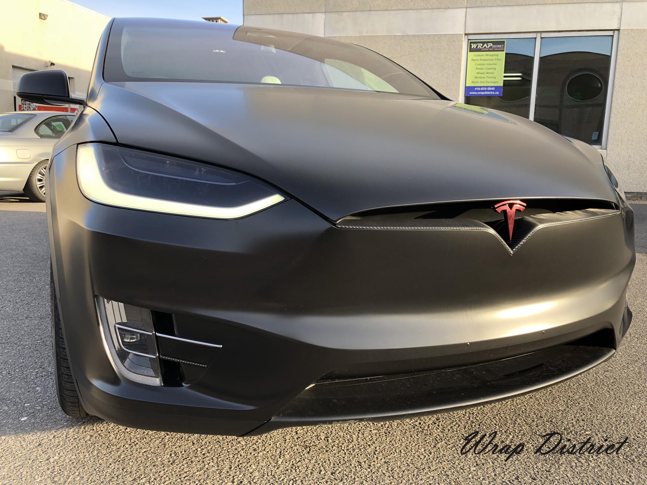 Tesla Model X Wrapped In Satin Black Wrap District