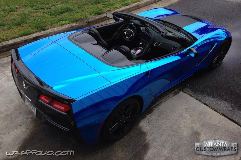 Blue Chrome Corvette Wrap Wrapfolio