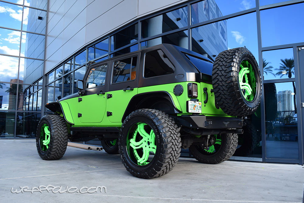 Lime Green Jeep Wrap