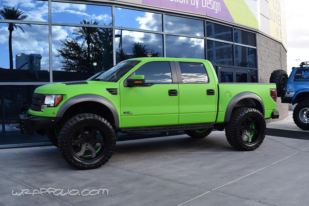 raptor green ford lime wrap truck matte sema crew cab wrapfolio