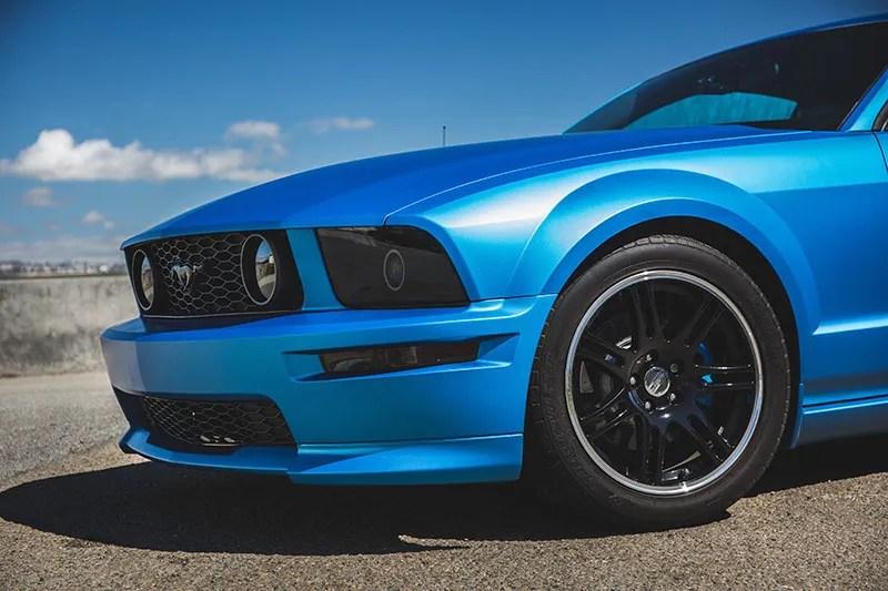 Matte Metallic Blue Ford Mustang Wrap