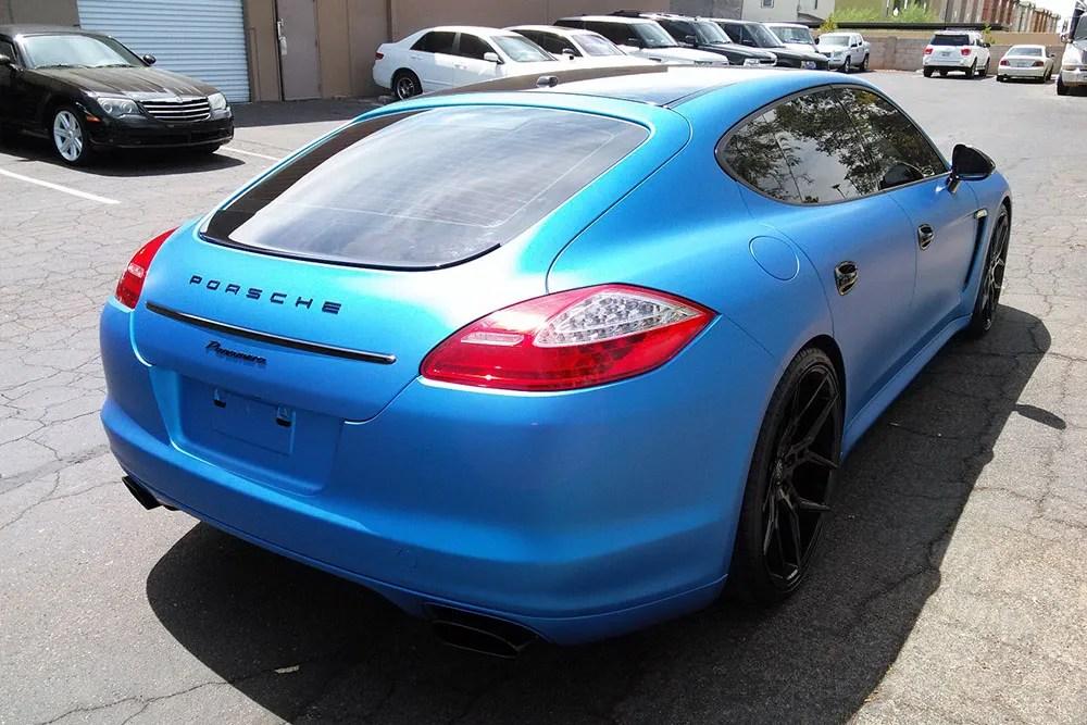 Matte Blue Metallic Porsche Panamera Wrap