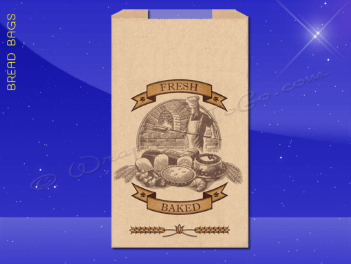 Bread Bags With Poly Panel – 8-1/2 x 4-1/2 x 24 – Printed Fresh Baked 1