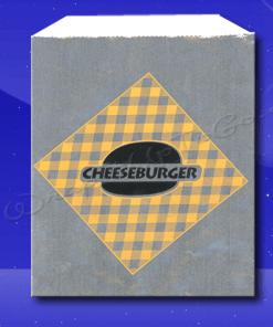 Foil Sandwich Bags – 6 x 3/4 x 6-1/2 – Printed Cheeseburger 1