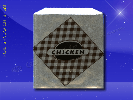 Foil Sandwich Bags – 6 x 3/4 x 6-1/2 – Printed Chicken 1