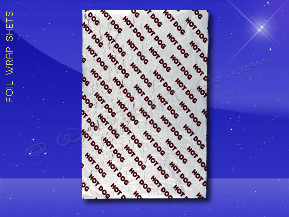 Foil Wrap Sheets – 9 x 12 – Printed Hot Dog 1