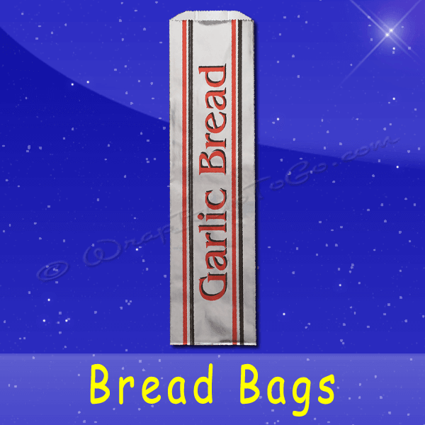 Fischer Paper Products BB-52 Foil Bread Bags 5-1/4 x 3-1/4 x 20 Printed Garlic Bread