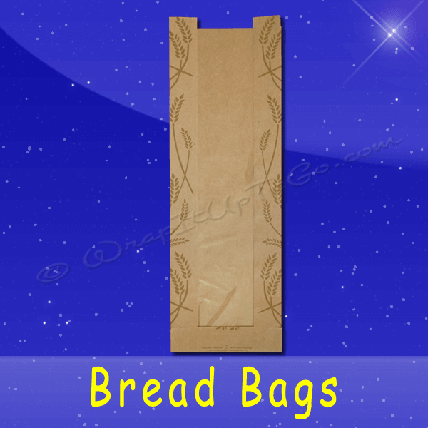 Fischer Paper Products BB-KP-18 Bread Bags With Poly Panel 6-1/2 x 2 x 18 Printed Fresh Baked