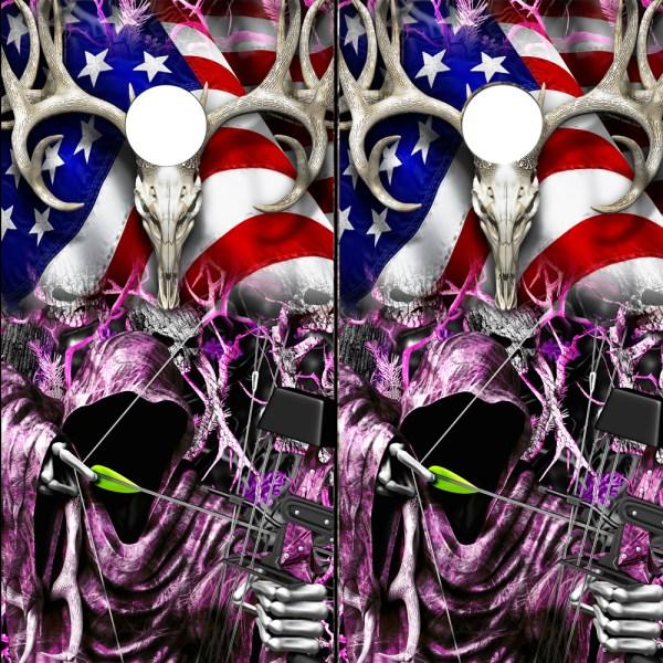 Cornhole Board Wrap Decals American Flag Bow Hunting Grim Reaper Camo