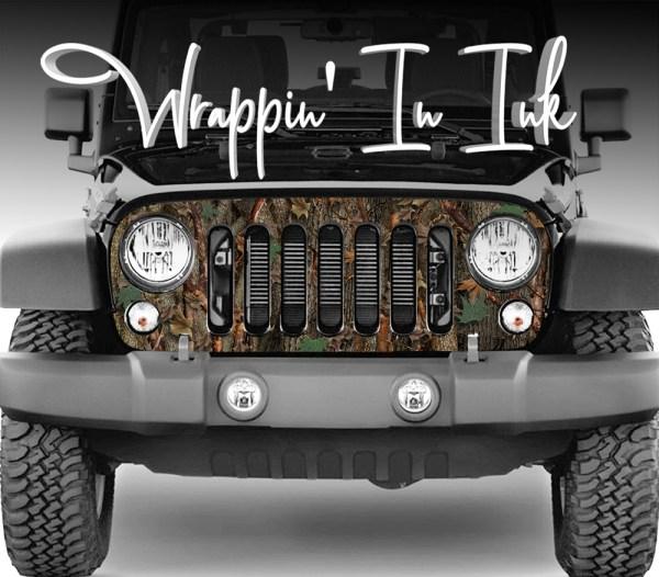 Jeep Wrangler Grill Wrap in Oak Ambush Camouflage for the 2007-2018 Jeep Wrangler