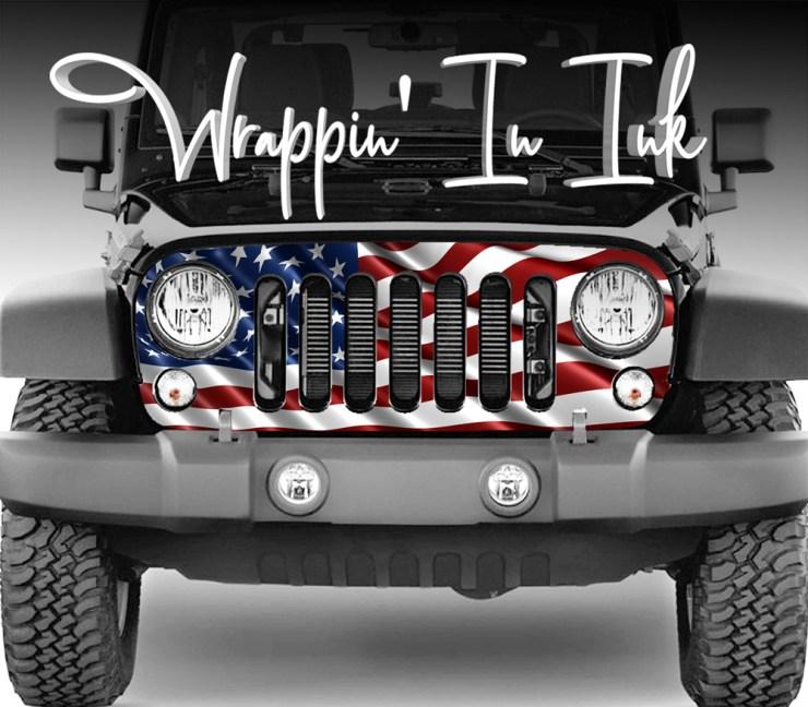 2007-2018 Jeep- Grill Wraps American Flag Wavy JK