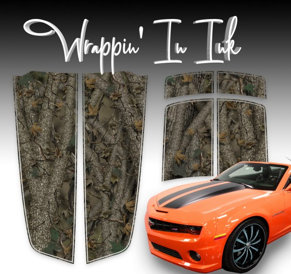 Forest Camouflage Chevy Camaro Racing Stripes 2010-2015