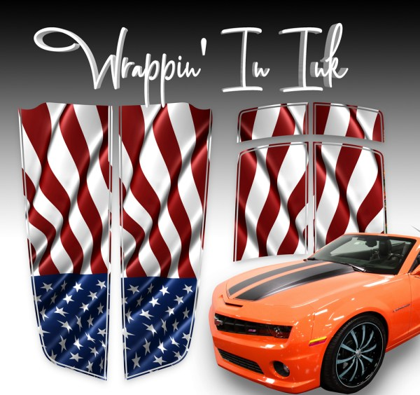 Racing Stripes for Chevy Camaro Waving American Flag