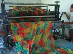 The fabric is pressed and ready for the batik print to be applied by stamping.