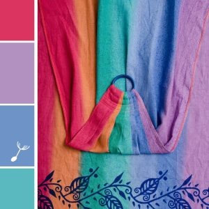 A rainbow ring sling made of linen with a blue batik print of leaf outlines along the rail. The rings are blue.