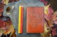 mapleleafandseedleatherbookcover-2