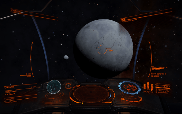 A view of Pluto and Charon from within Elite: Dangerous