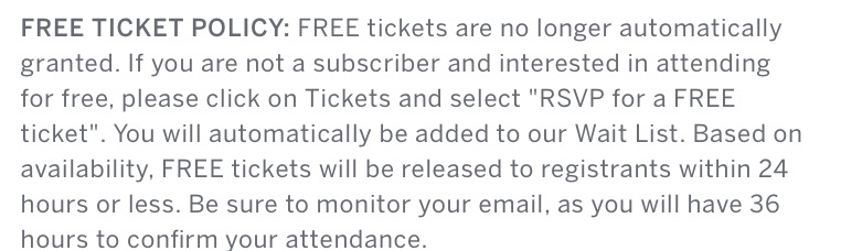 PEF Ticket Policy