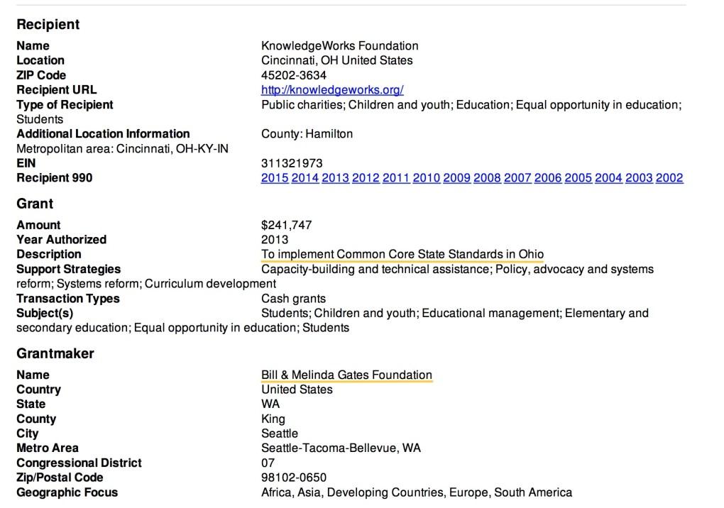 Gates Grant to Knowledgeworks Common Core in Ohio