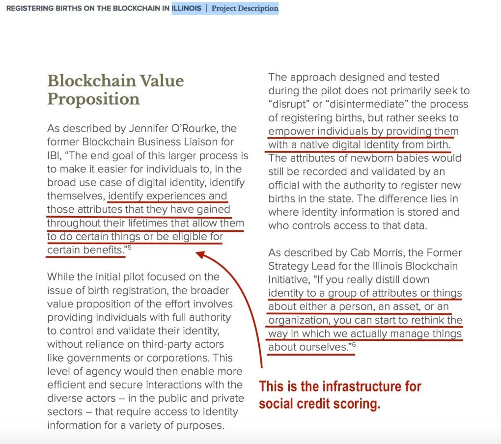 IL Blockchain Birth Certificate Social Credit Scoring