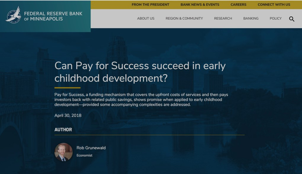 Pay For Success ECE Minneapolis Fed