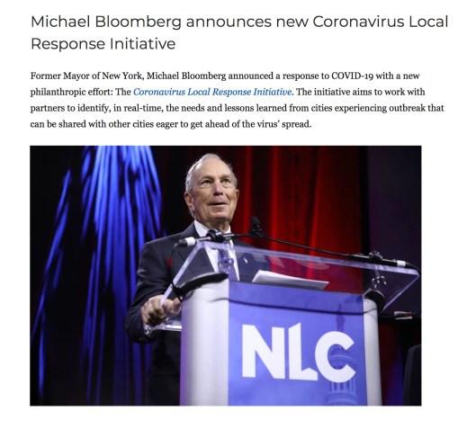 Bloomberg Corona Virus Local Response