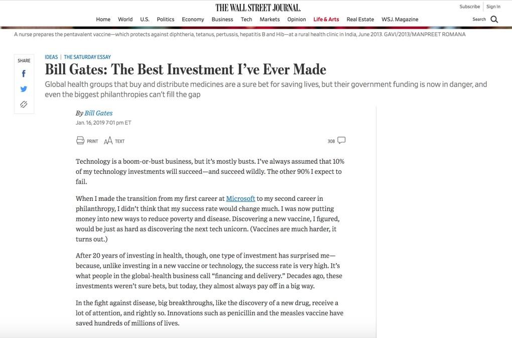 Gates Vaccine Investment WSJ