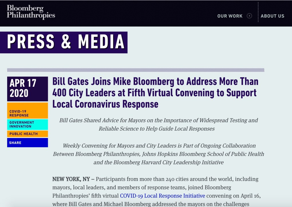 Gates Bloomberg Corona Virus Task Force