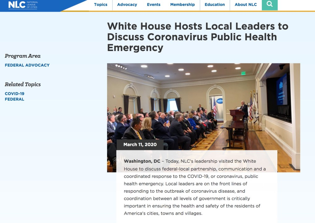 White House Corona Virus National League of Cities