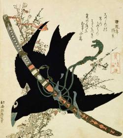 Hokusai: Crow, Sword, and Plum Blossom
