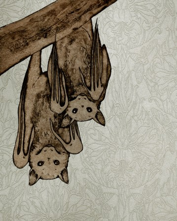 Little Flying Foxes (digital collage from steel plate intaglio prints)