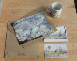 Photo print and cards with their mailer, and the mug