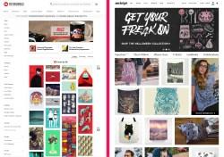 Main website. Left, Redbubble; right, Society6.