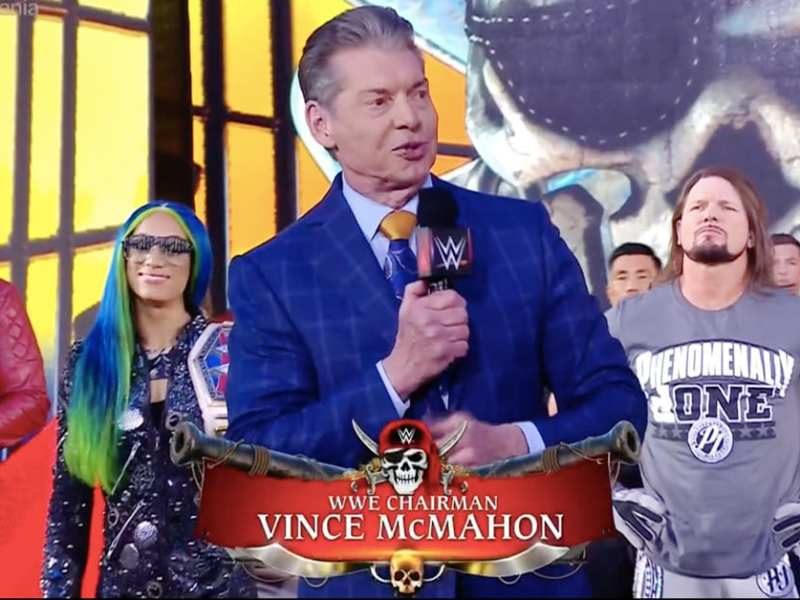 Vince McMahon addresses the audience at Wrestlemania 37