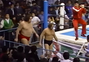 rene goulet and andre the giant team up in japan to take on hulk hogan and antonio inoki - 1982